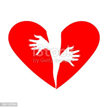 Female hands on a background of the two halves of the heart. The metaphor of love and passion