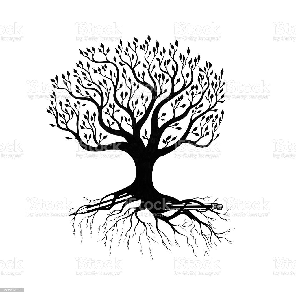 broken pencil with tree vector art illustration