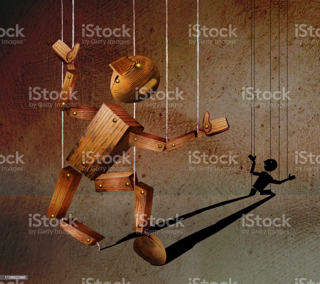 Broken Wooden Marionette Stock Illustration - Download Image