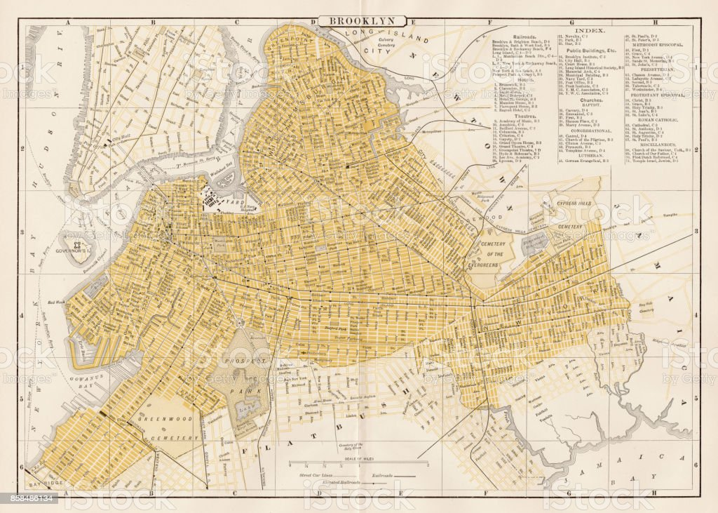 Broklyn city map 1893 vector art illustration