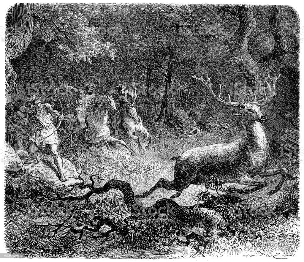 Bronze Age Hunt vector art illustration