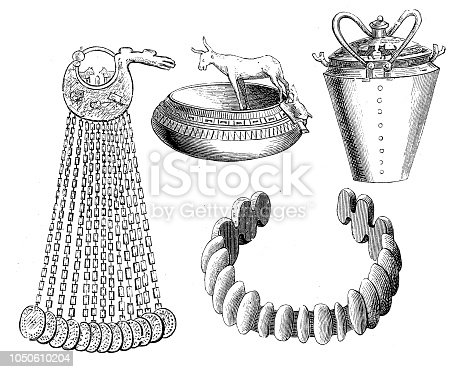 Illustration of a Bronze vessels and bronze jewelry from the tombs and Hallstatt. 464-466