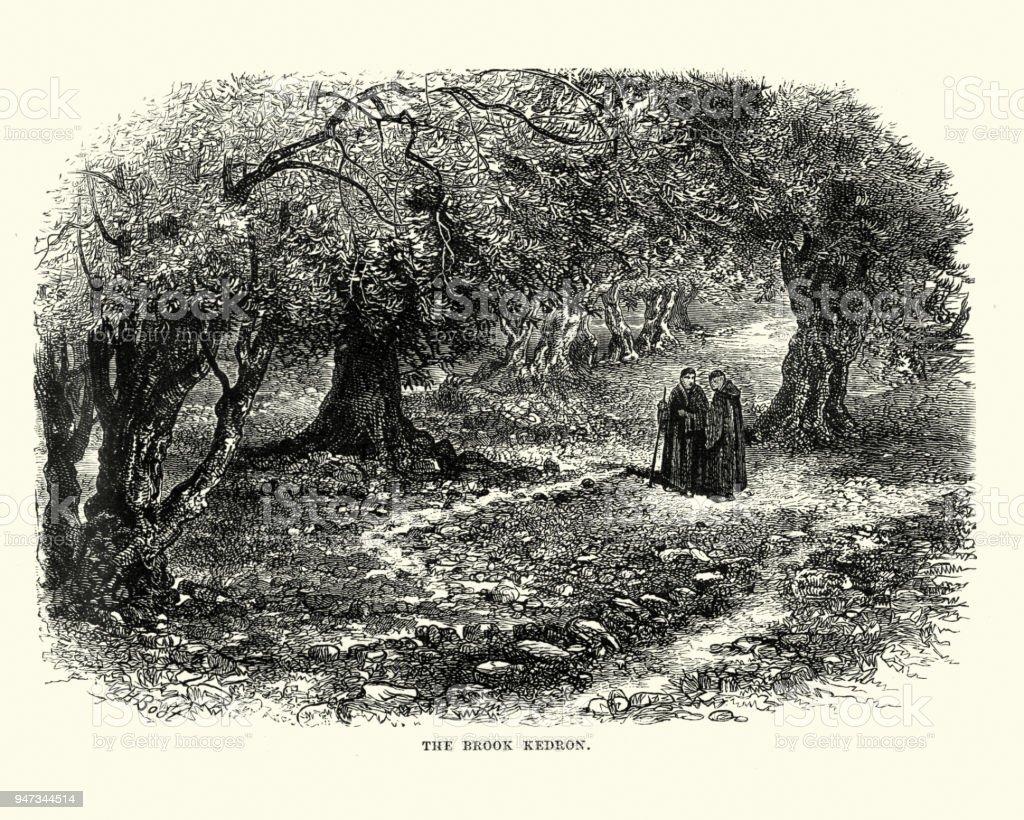 Brook Kedron, Jerusalem, 19th Century vector art illustration
