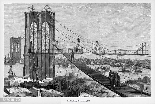 Beautifully Illustrated Antique Engraved Victorian Illustration of Brooklyn Bridge Construction Victorian Engraving, 1877. Source: Original edition from my own archives. Copyright has expired on this artwork. Digitally restored.