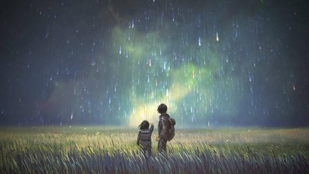 stockillustraties, clipart, cartoons en iconen met broer en zus kijken naar prachtige hemel - ruimte exploratie
