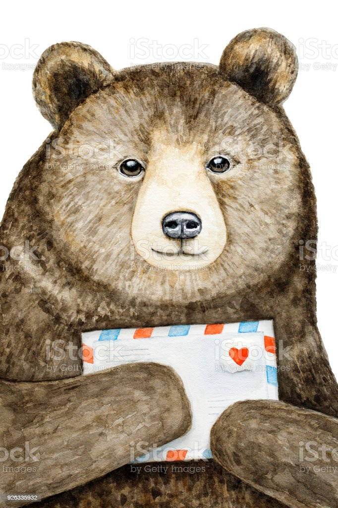 a brown bear holding a mail envelope with a love heart stock vector