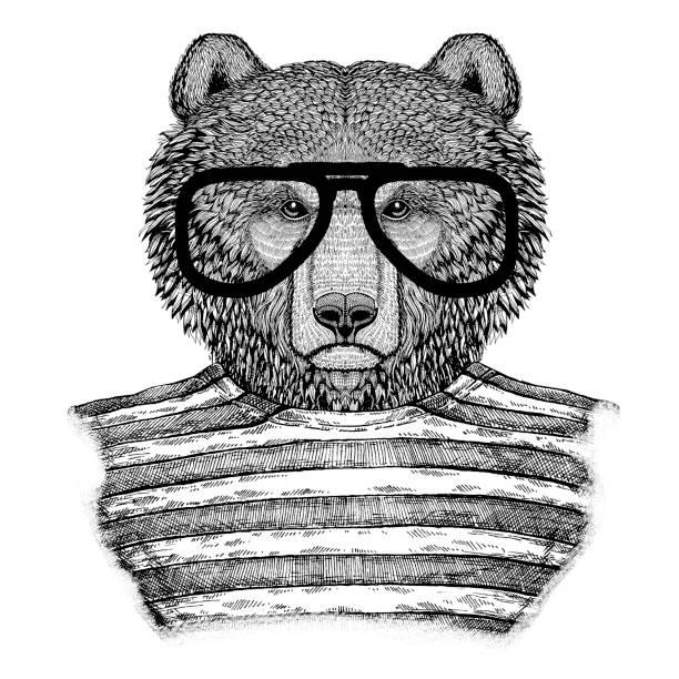 stockillustraties, clipart, cartoons en iconen met bruine beer russische beer hipster stijl hand getekende illustratie voor tattoo, badge, embleem, logo, patch, t-shirt - teenager animal