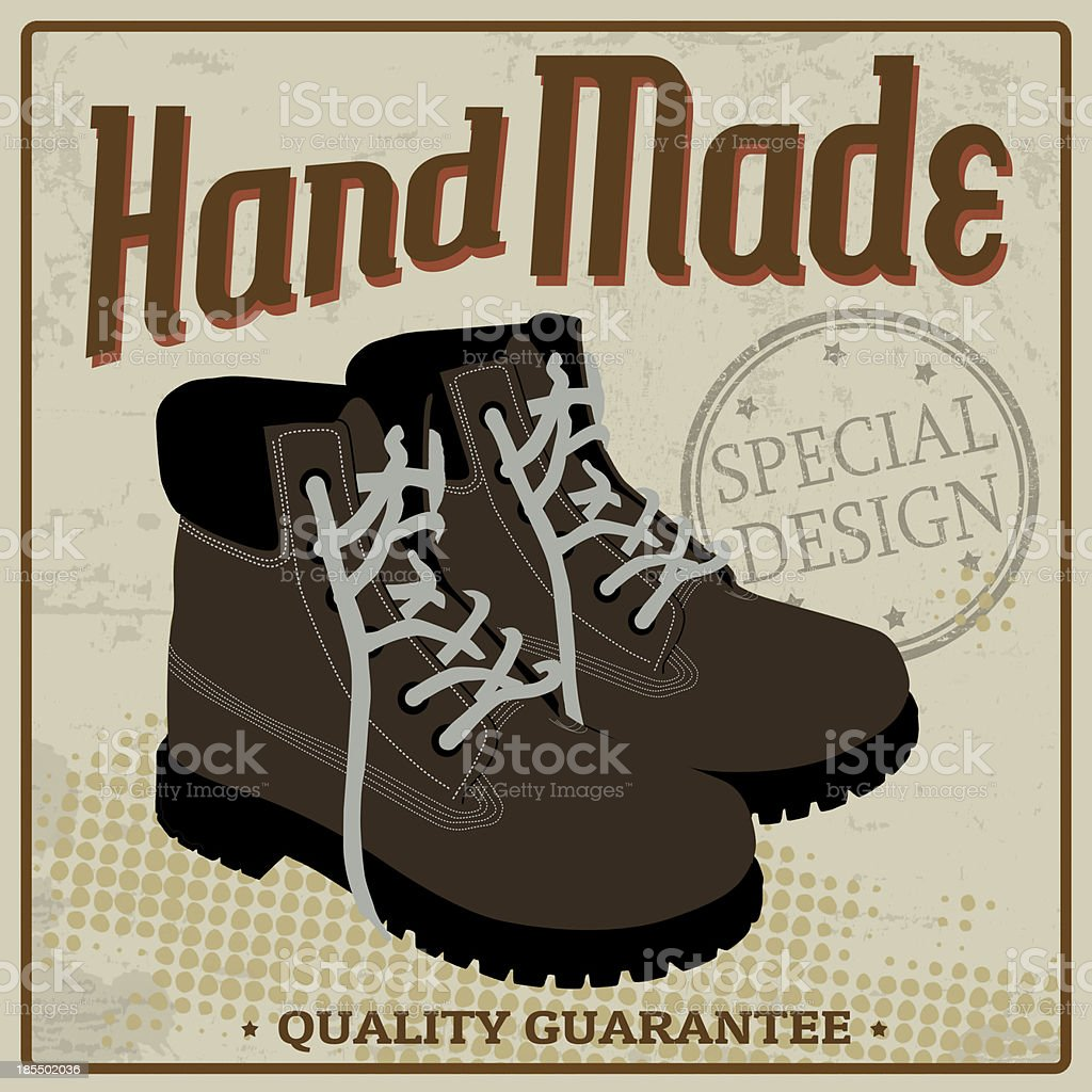 Brown boots vintage poster royalty-free brown boots vintage poster stock vector art & more images of army