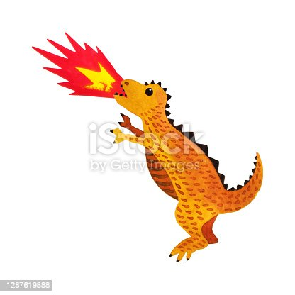 istock brown dinosaur funny cartoon art watercolor painting illustration design drawing on white isolated background 1287619888