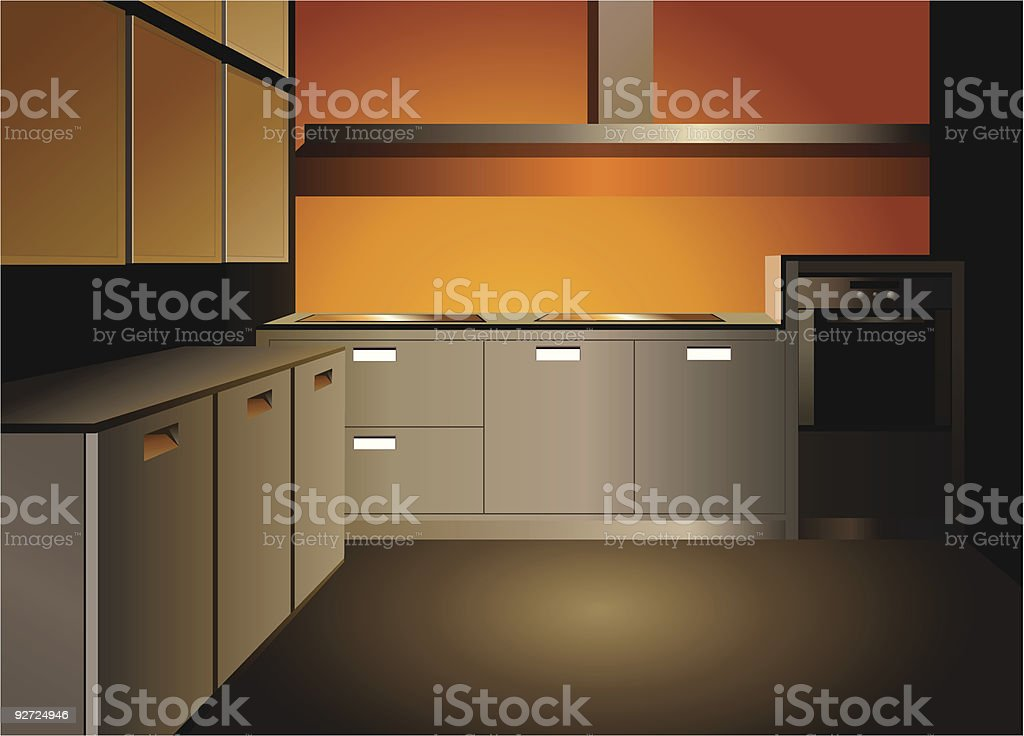 brown kitchen interior royalty-free stock vector art