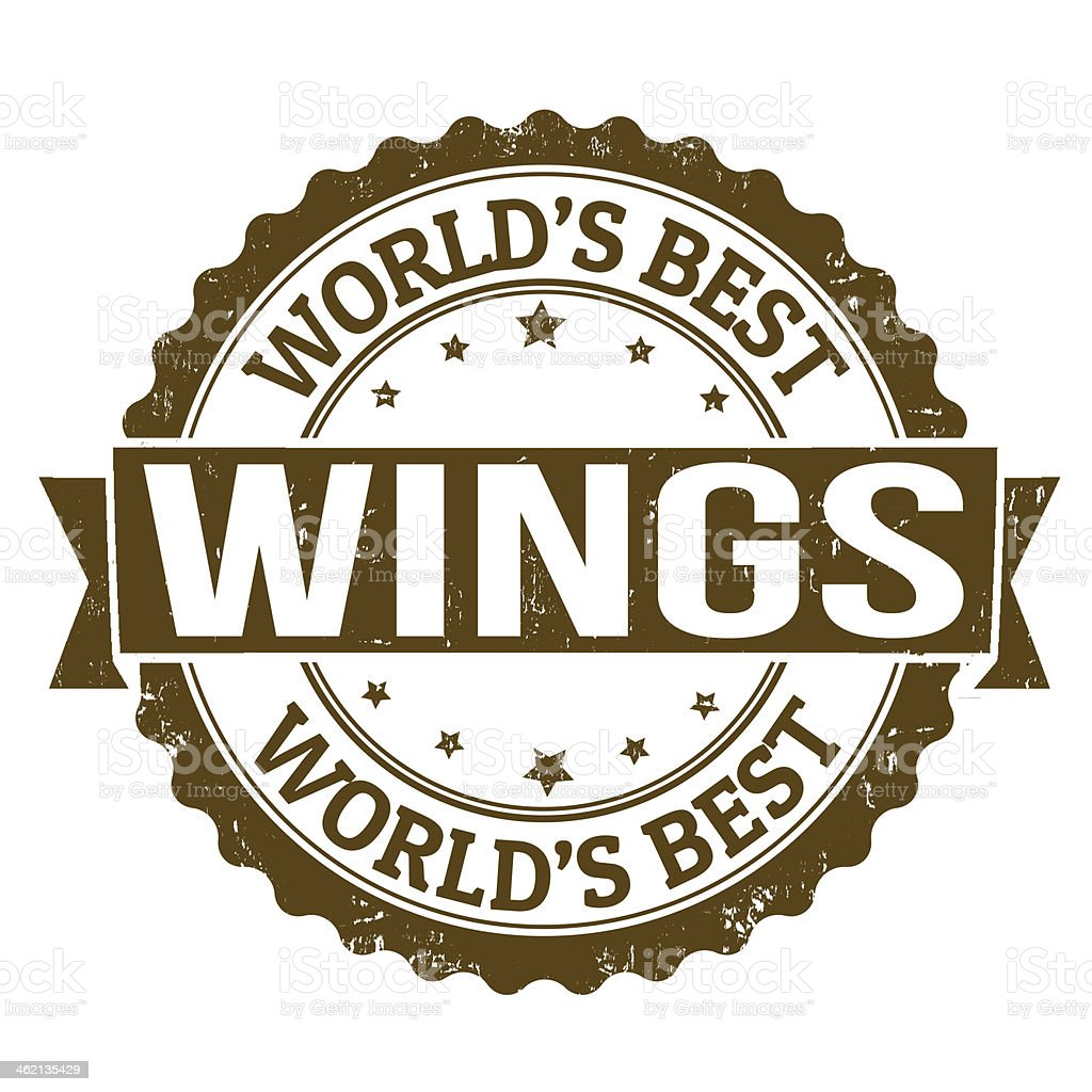 Brown logo for the world's best wings on a white background vector art illustration
