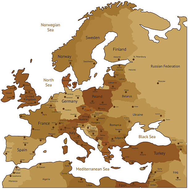 stockillustraties, clipart, cartoons en iconen met brown map of europe - zuid europa