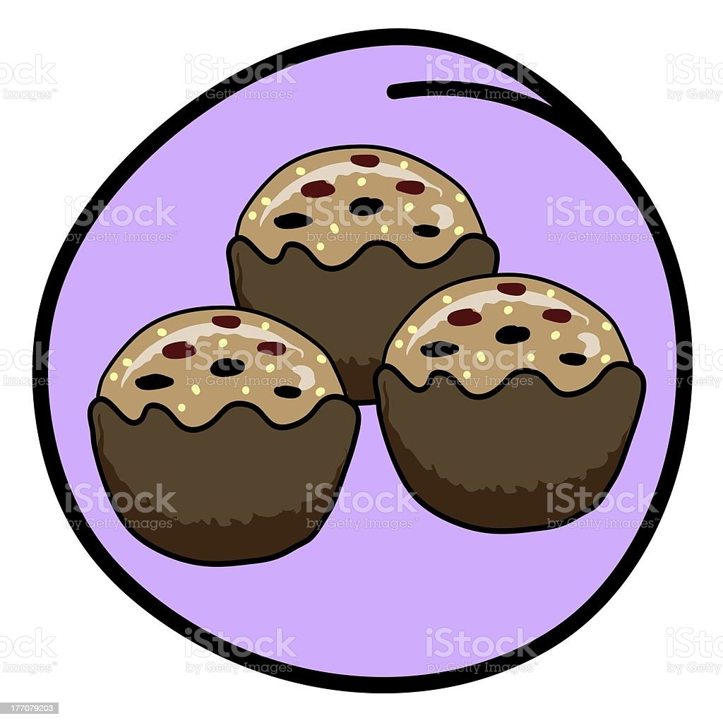 Brown Muffin on Round Purple Background royalty-free stock vector art