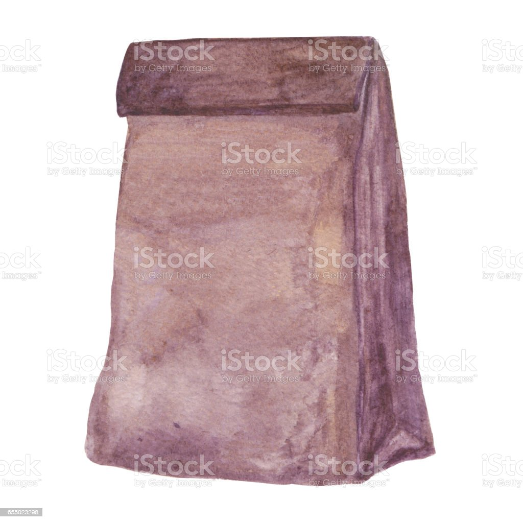 Brown Paper Lunch bag. Ecological package. School lunch bag vector art illustration