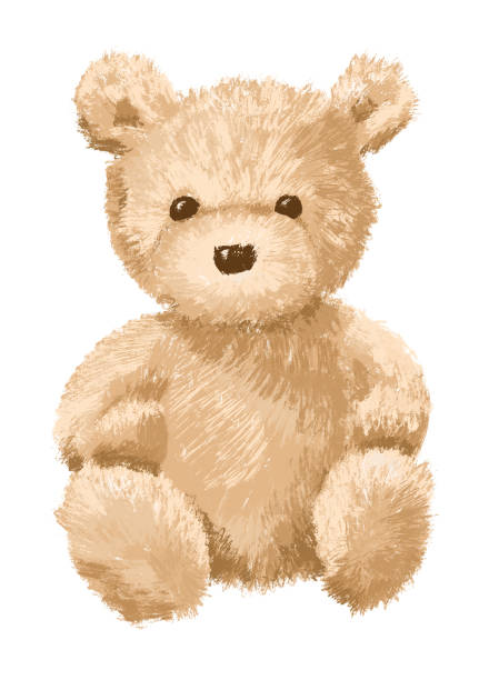 Brown Teddy bear on white background - isolated vector art illustration