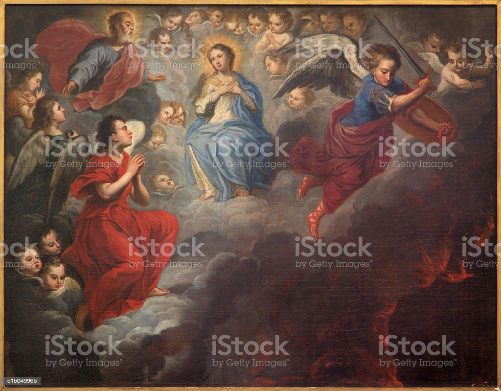 Brujas-pintura de la virgen maría en el paraíso - ilustración de arte vectorial