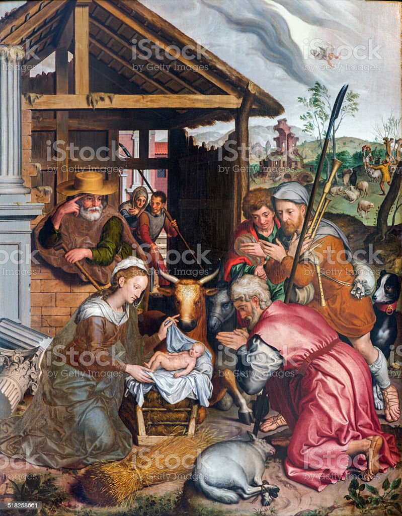 Bruges - The Adoration of Pastores in church Our Lady vector art illustration