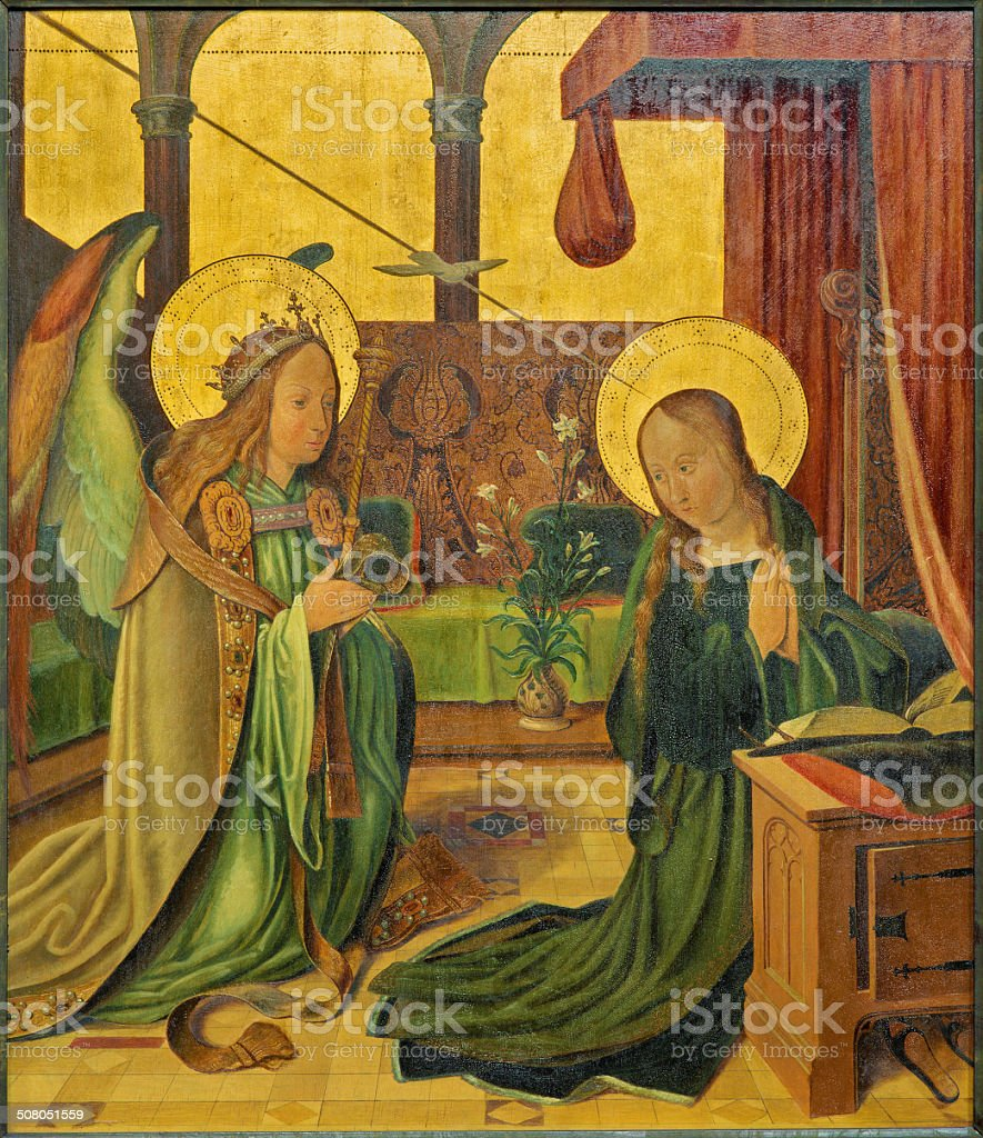 Bruges - The Annunciation from 15. cent. royalty-free stock vector art