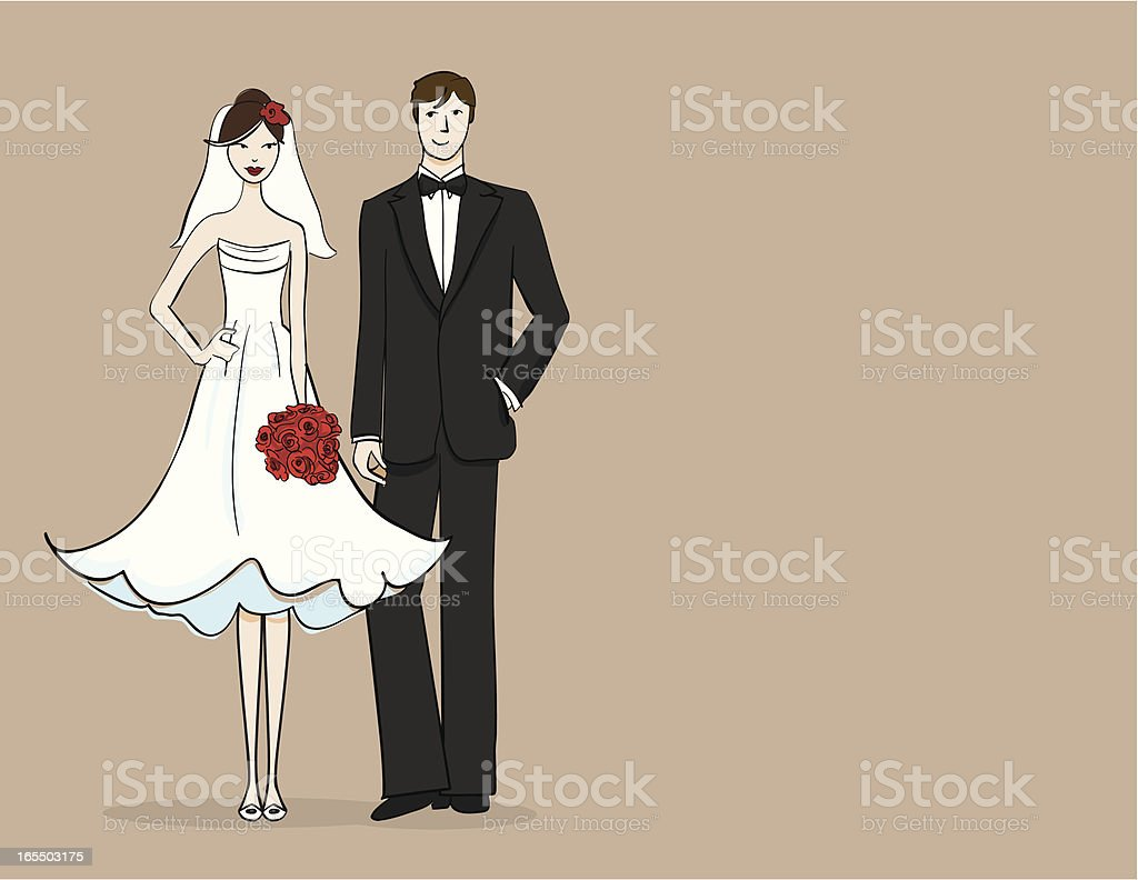 Brunette bride and groom royalty-free stock vector art