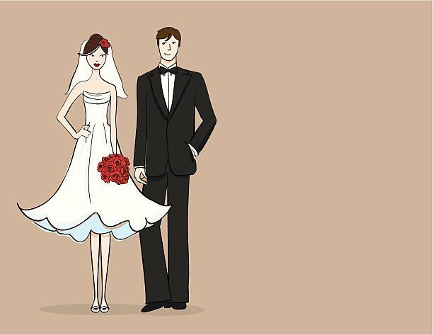 Brunette bride and groom vector art illustration