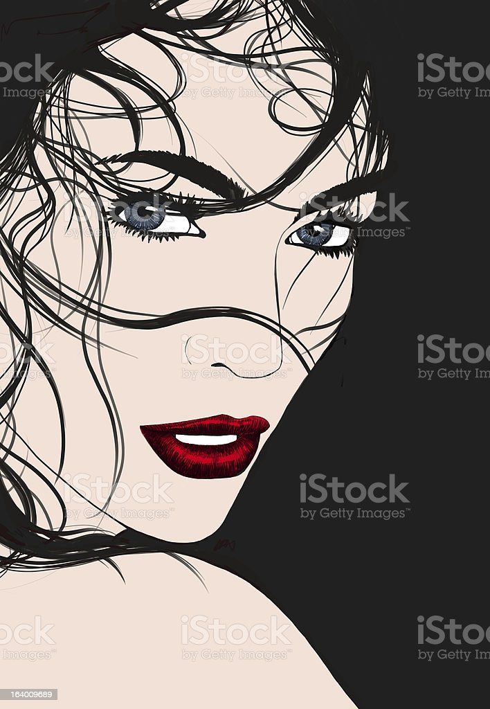 Brunette girl vector art illustration