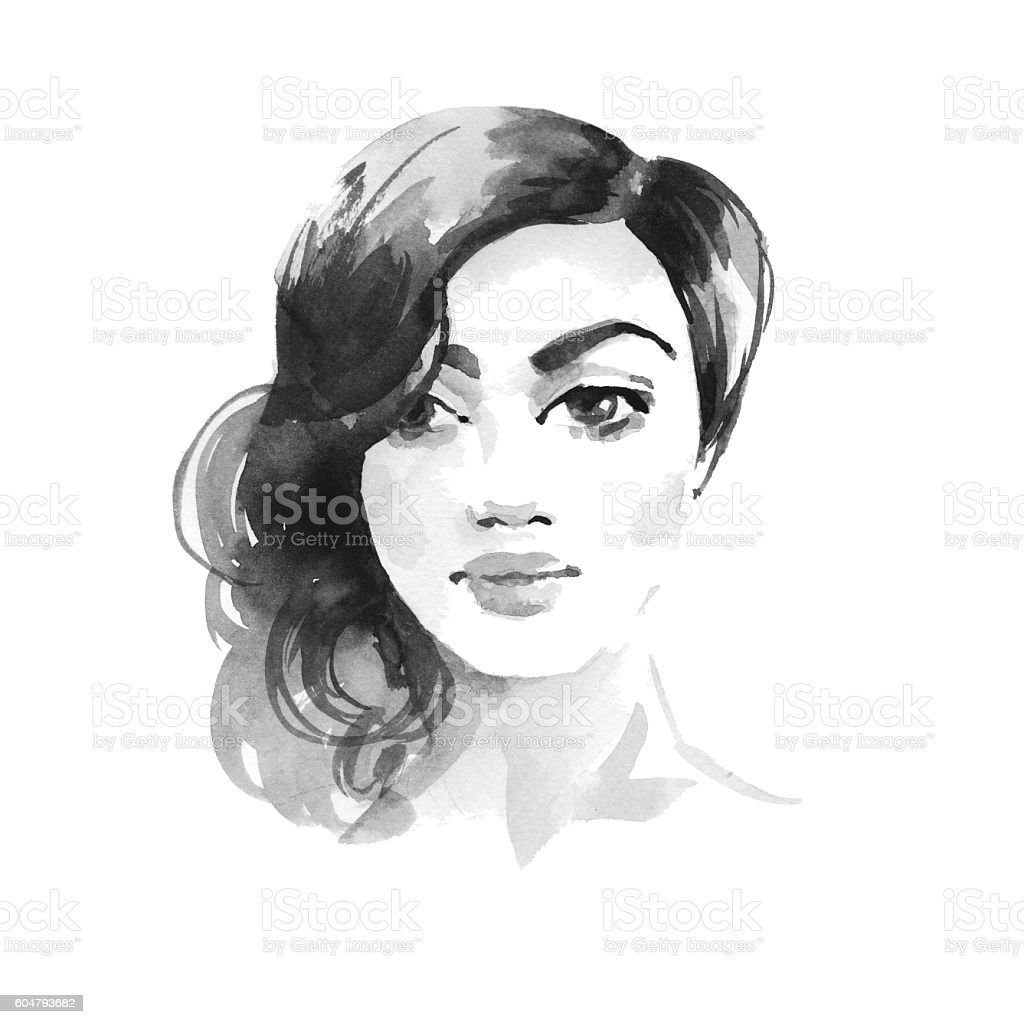 Brunette girl. Watercolor sketch 1. Female face vector art illustration