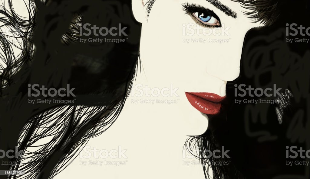 Brunette vector art illustration