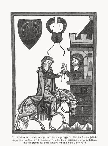 Bruno von Hornberg (Codex Manesse, ca. 1300), facsimile, woodcut, 1897