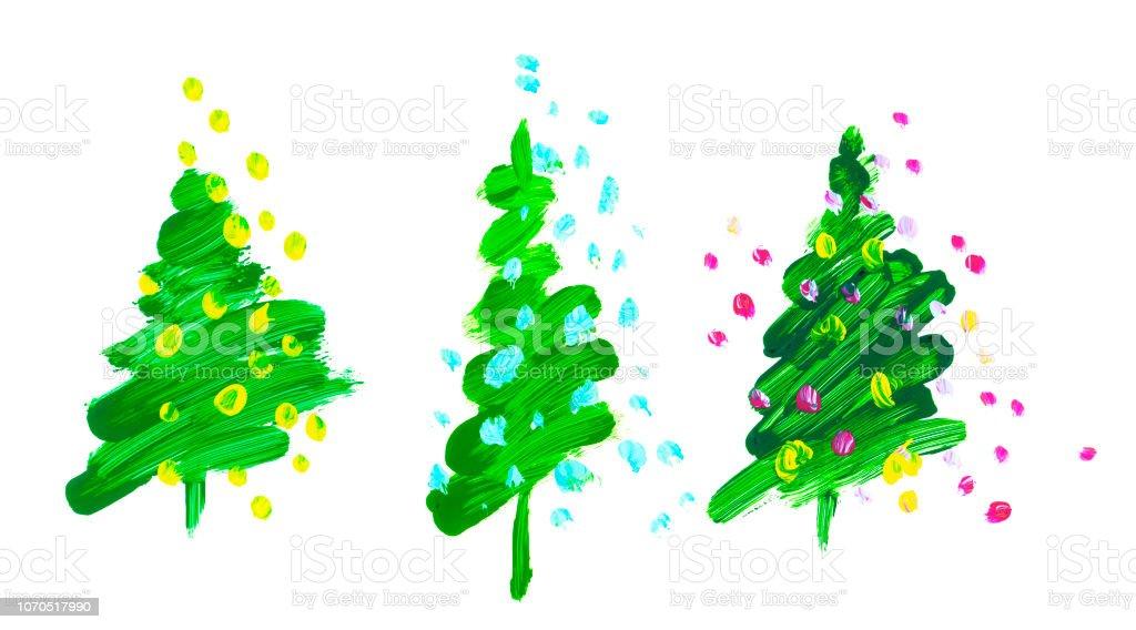 ブラシ ストローク緑のクリスマス ツリーオイル ペイント手書き