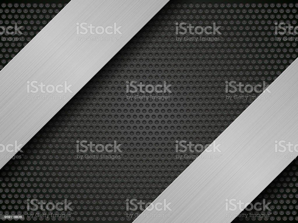 brushed metal stripes on perforated pattern vector art illustration