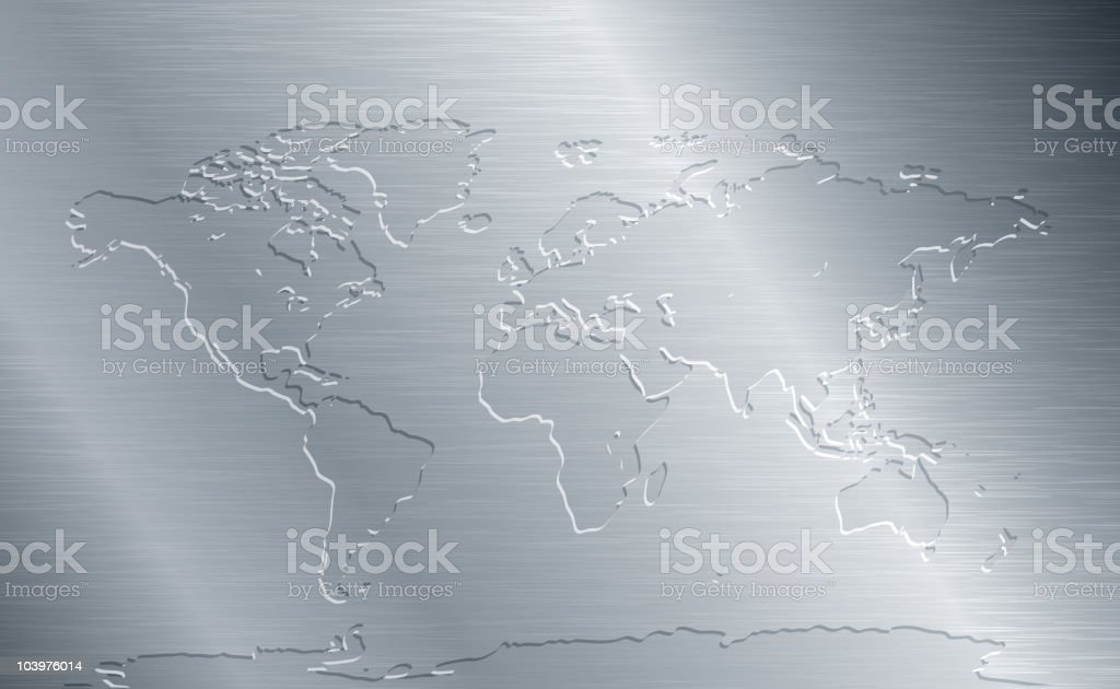 Brushed metal with world map royalty-free stock vector art