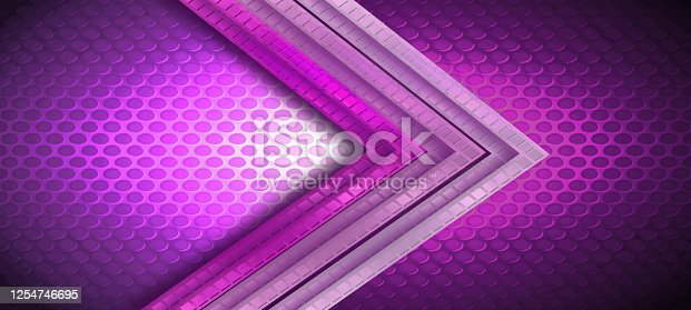 Brushed pink (purple) shade metallic texture background with holes and decorative arrows.
