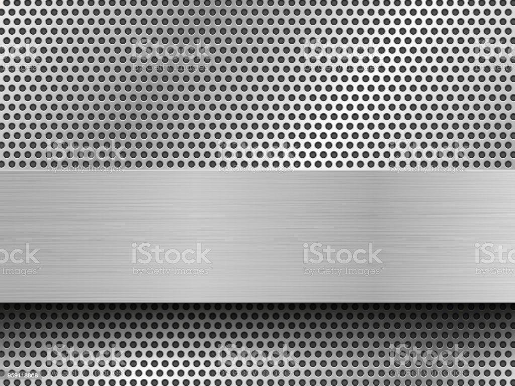 brushed silver stripes on black perforated metal sheets vector art illustration