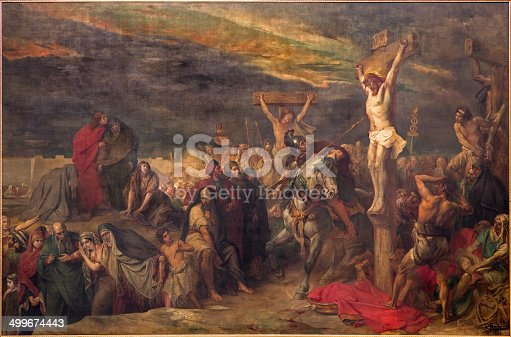 istock Brussels - The Crucifixion paint in st. Jacques church 499674443