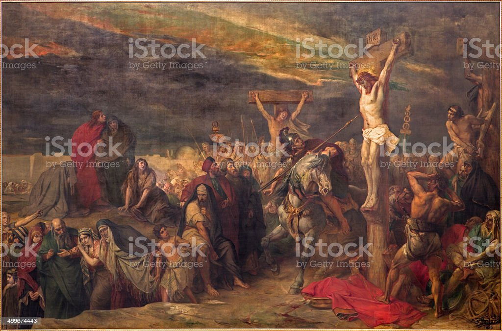 Brussels - The Crucifixion paint in st. Jacques church vector art illustration