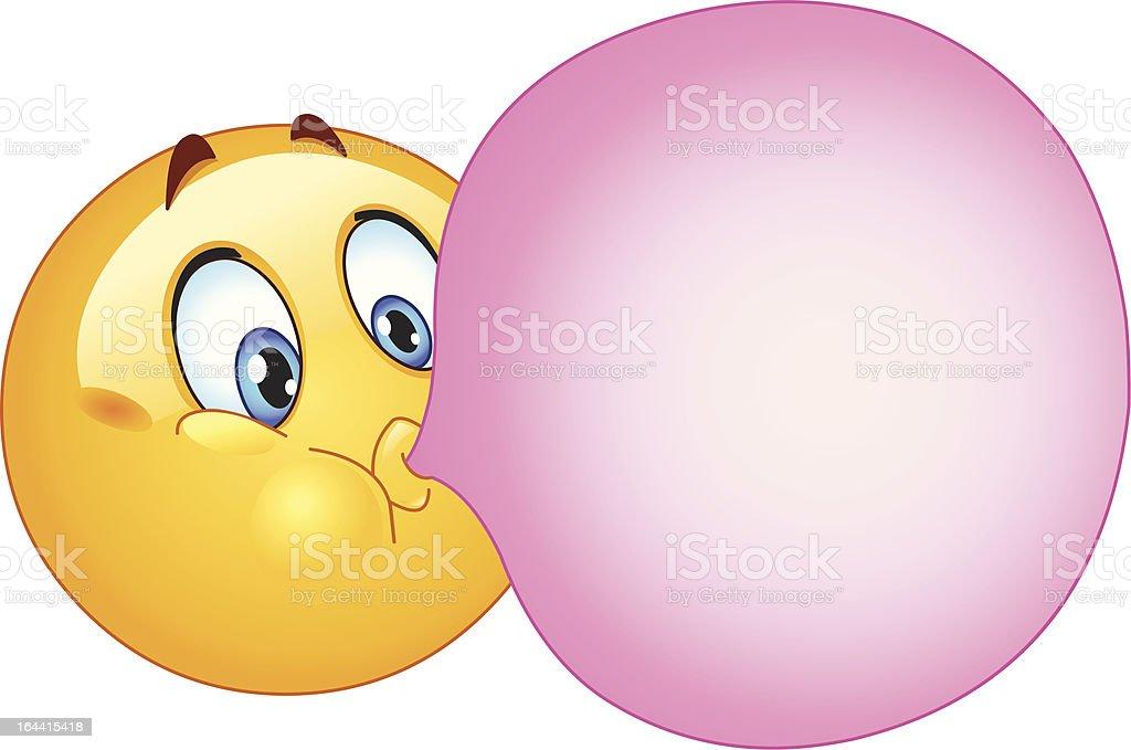 Bubble gum emoticon vector art illustration