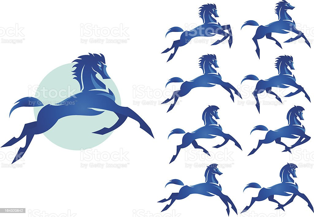 Bucking Bronco : The wild stallion blue color vector art illustration