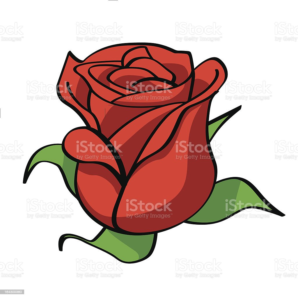 bud of a red rose vector art illustration