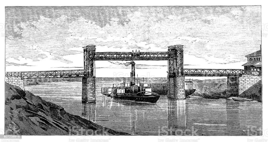 Buda lift bridge on Danube vector art illustration