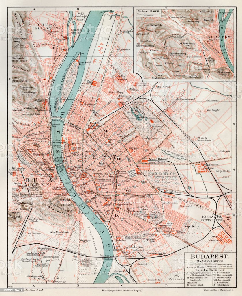 Budapest city map 1895 vector art illustration