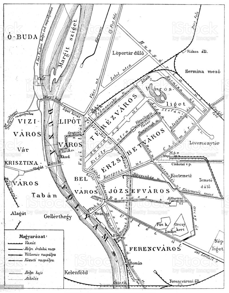 Budapest city map vector art illustration