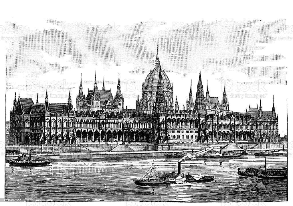 Budapest – Hungarian Parliament vector art illustration