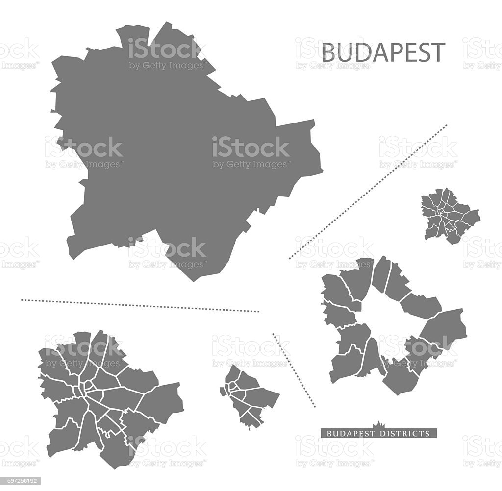 Budapest Hungary Map grey vector art illustration