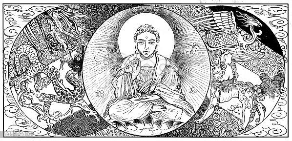 illustration of a Buddha - Lotus