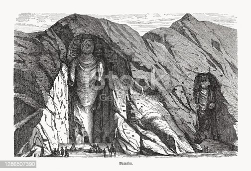 istock Buddhas of Bamiyan, Bamyan valley, Afghanistan, wood engraving, published 1893 1286507390