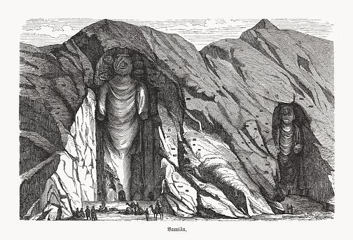 Buddhas of Bamiyan, Bamyan valley, Afghanistan, wood engraving, published 1893