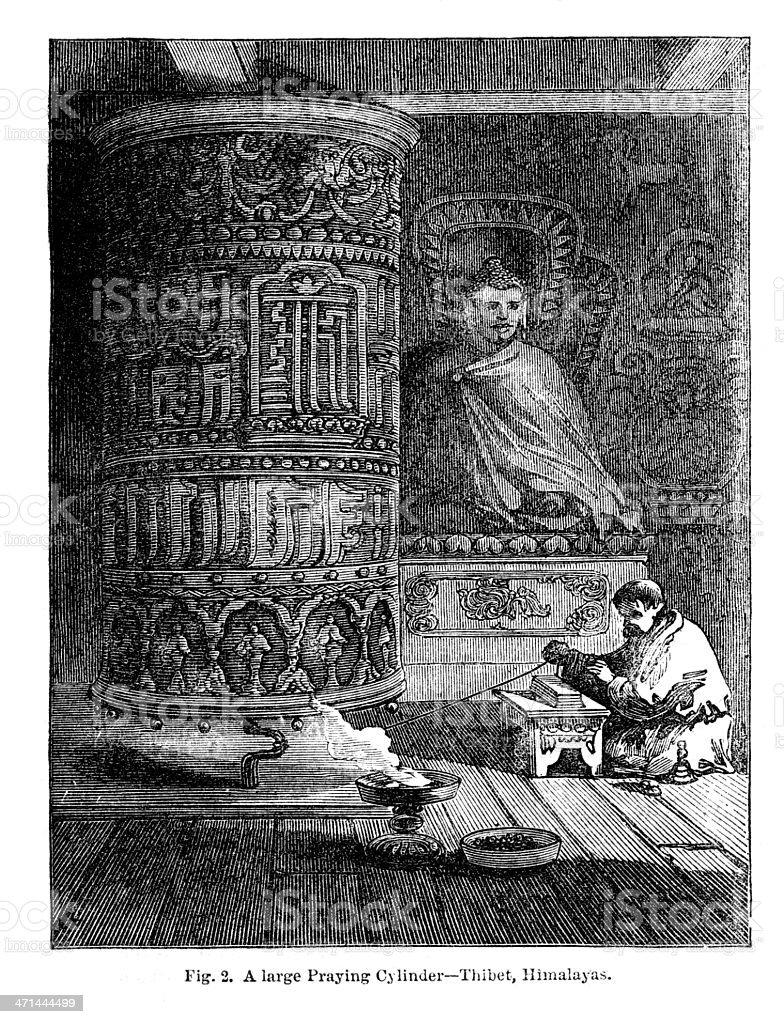 Buddhist large prayer cylinder/ wheel in 1867 journal royalty-free stock vector art