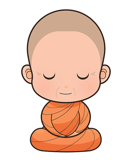 buddhist monk - old man praying picture pictures stock illustrations, clip art, cartoons, & icons