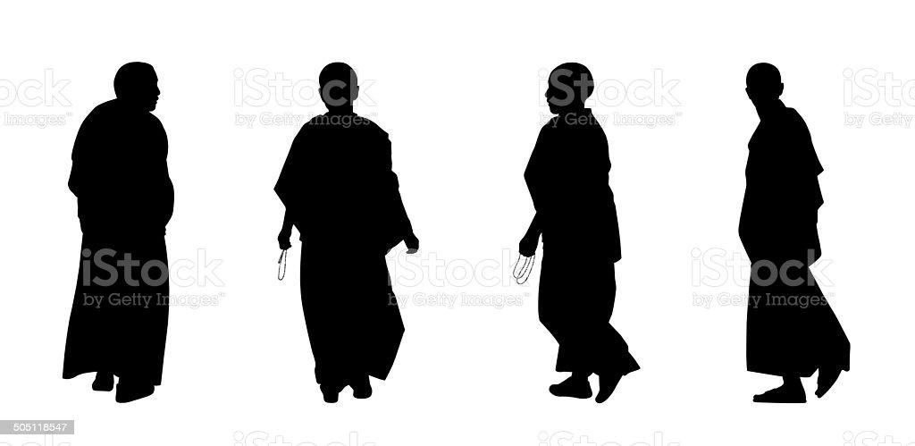 buddhist monks silhouettes set 2 vector art illustration