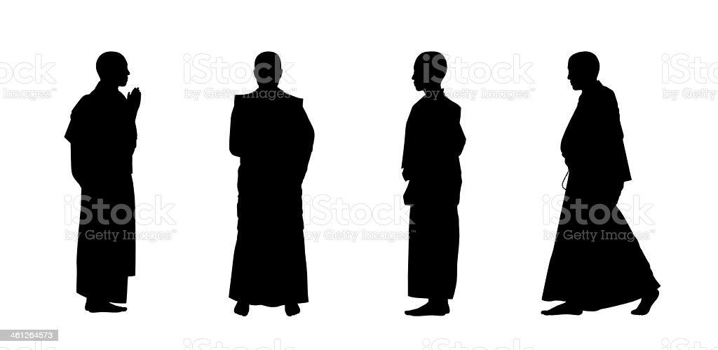 buddhist monks silhouettes set vector art illustration